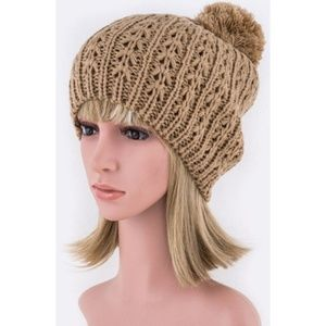 Large Pom Crochet Tan Beanie